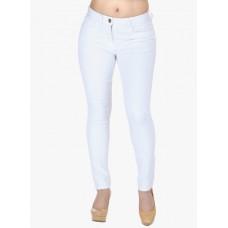 Džinsai-kelnės balti su nėriniuota juosta šonuose