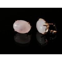 Auskarai su rožinio kvarco akmenukais