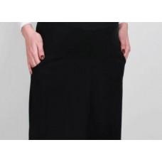 Lininis juodas sijonas su kišenėmis