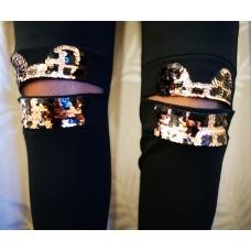Tamprės-kelnės su puoštais keliais